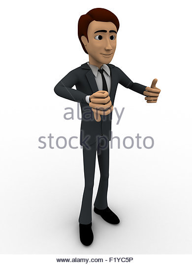 3d man showing thumb up and down using two hands concept on white background, side angle view - Stock Image