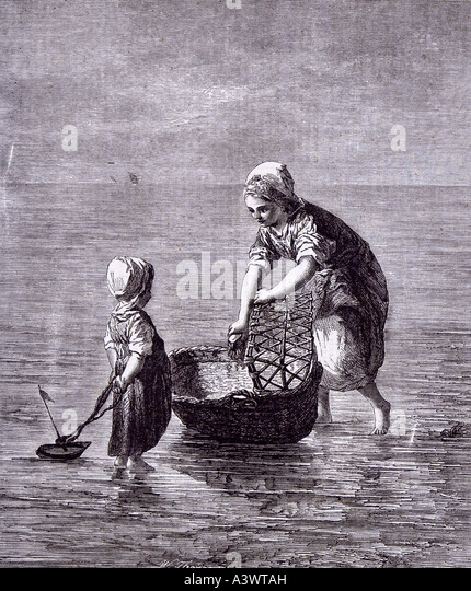 dutch artist art child sister sea boat moses basket baby bed cot crib babyhood - Stock Image