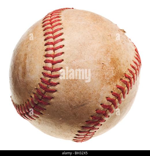 baseball with red stitching baseball isolated on white background - Stock Image