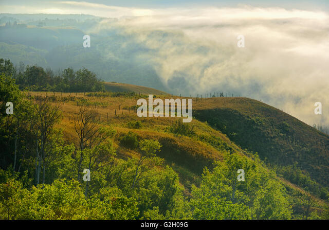 Fog rising above the Peace River Dunvegan Alberta Canada - Stock Image