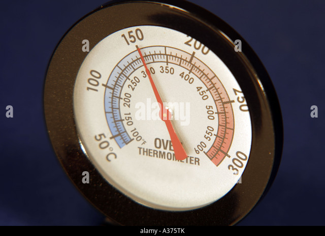 Oven Thermometer reading 150 Degrees Centigrade - Stock Image