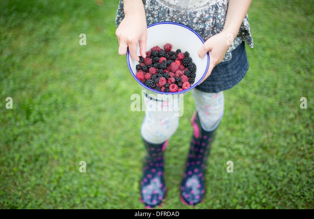 Girl Holding Bowl Filled With Raspberries And Blackberries - Stock-Bilder