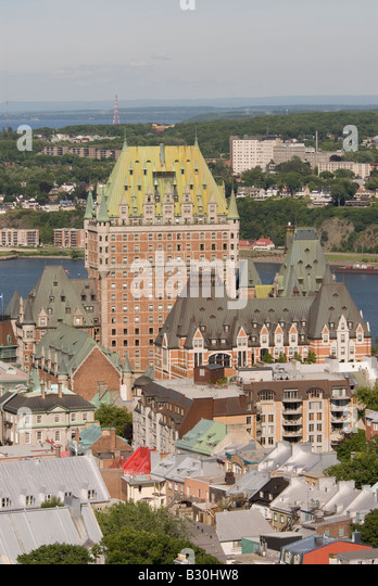 Aerial Quebec City st lawrence river canada - Stock Image