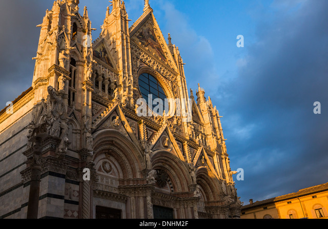 Low angle view of a cathedral, Siena Cathedral, Siena, Siena Province, Tuscany, Italy - Stock-Bilder