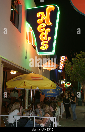 Albuquerque New Mexico Route Central Avenue alfresco dining neon signs nightlife W - Stock Image