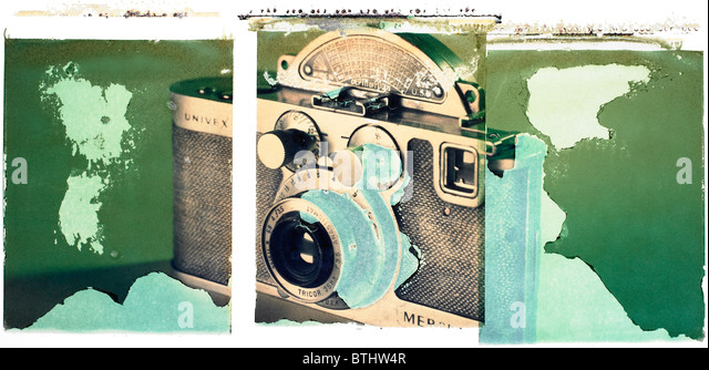 Polaroid transfer of old Russian camera. - Stock Image