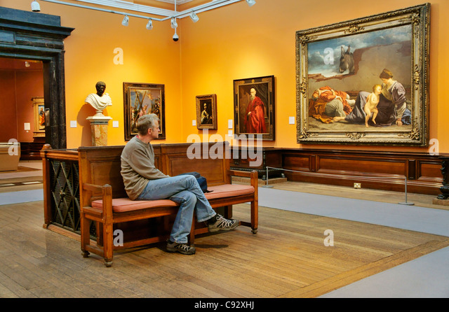 Victorian oil paintings in the permanent collection exhibition. Birmingham Museum and Art Gallery interior, UK - Stock Image