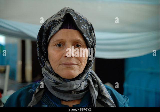 A portrait of a female leprosy patient who lives many years in Egypt's leprosy colony. - Stock Image