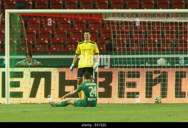 Grozny, Chechnya, Russia. 8th Aug, 2014. FC Terek's goalkeeper Yaroslav Hodzyur (background C) reacts after - Stock-Bilder