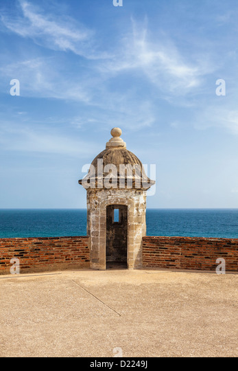 Puerto Rico, Old San Juan, San Cristobal Castle, Guard Tower  And Sea - Stock Image