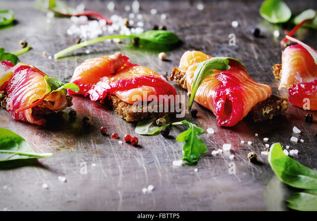 Salted salmon with beetroot - Stock Image