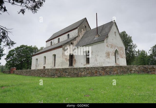 Rujiena St. Bartholomew`s Church was built approximately 1259-1263. Rujiena, Vidzeme. Latvia - Stock Image