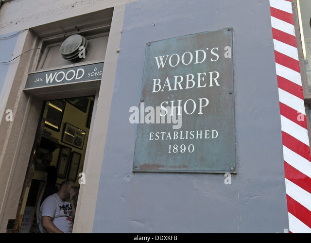 Woods Barber Shop,Drummond St,Edinburgh,Scotland,UK - Stock Image