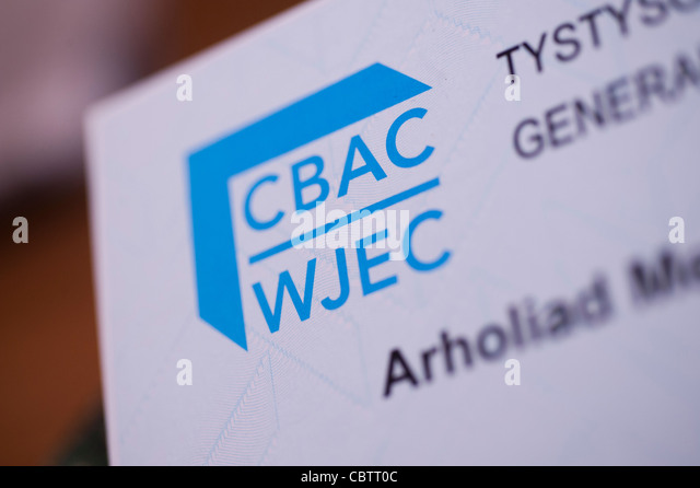 WJEC welsh joint education committee GCSE examination results, Wales UK - Stock Image