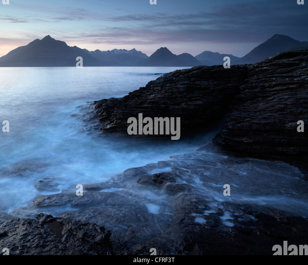 A moody winter evening at Elgol, Isle of Skye, Scotland, United Kingdom, Europe - Stock Image