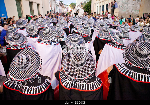 Drummers performing in the annual carneval in Montevideo, Uruguay - Stock Image
