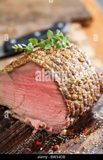 juicy roast beef - Stock Image