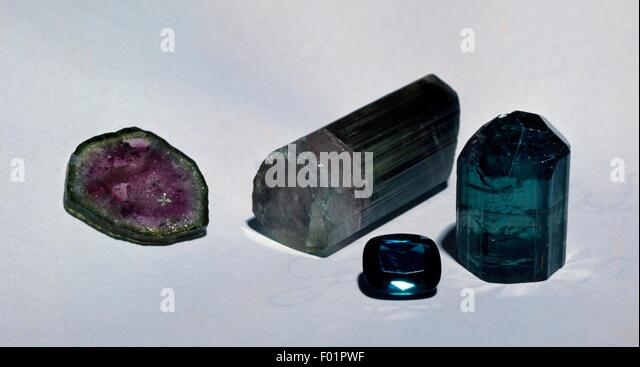 Polychrome Tourmaline specimens, silicate. - Stock Image