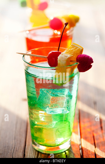 colourful summer fruit cocktails - Stock Image