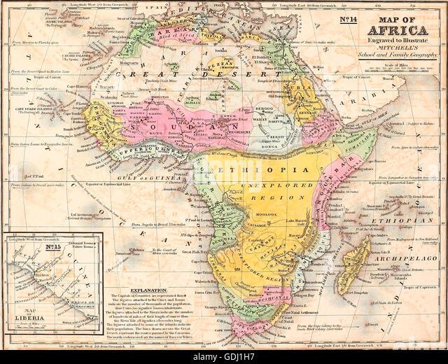 Map of Africa, circa 1850 - Stock-Bilder