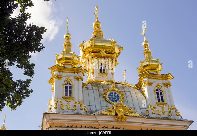 Peterhof Palace gilded  domes of the Peter and Paul Cathedral at the Grand Palace located near Saint Petersburg, - Stock Image