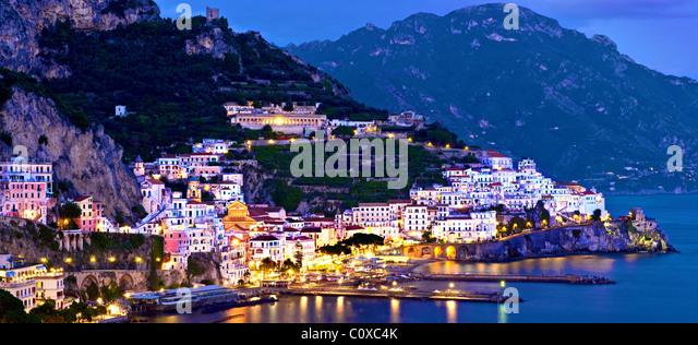 Amalfi,coast,panoramic,night.Italy - Stock Image