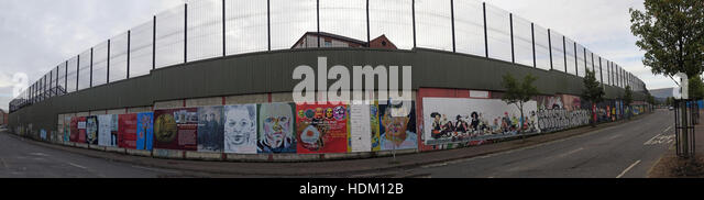 Panorama of Belfast International Peace Wall,Cupar way,West Belfast,NI,UK - Stock Image
