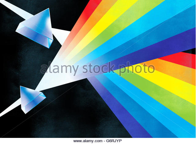retro science illustration light spectrum prism lenses and sound waves - Stock Image