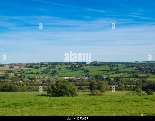 View of hills, and trees on a sunny day near Holbrook, Belper, in Derbyshire, United Kingdom. UK - Stock Image