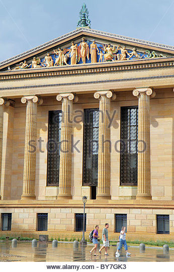 Pennsylvania Philadelphia Philadelphia Museum of Art institution exterior North Wing pediment columns Greek Revival - Stock Image