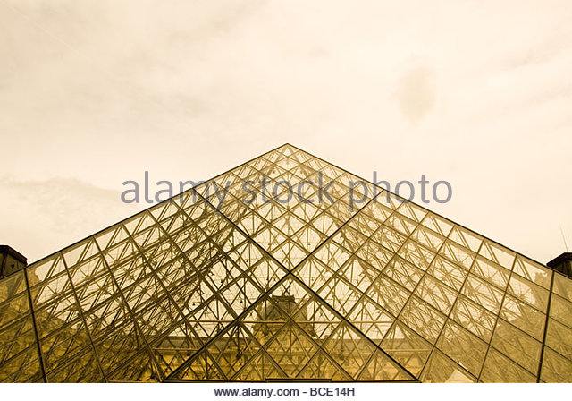 This is the glass pyramid of the Louvre - Stock Image