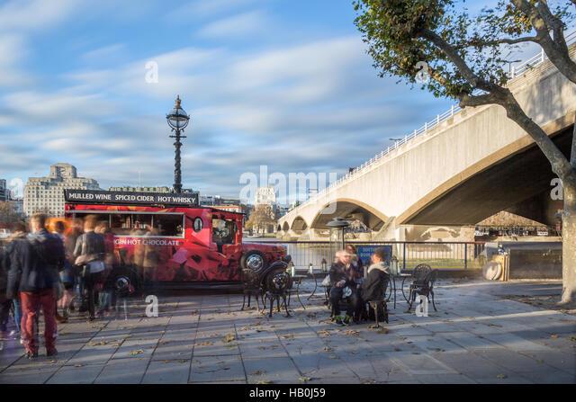 Street food van selling drinks, Waterloo Bridge, London, UK - Stock Image