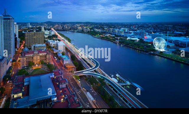 Brisbane city aerial at night, QLD Australia - Stock Image