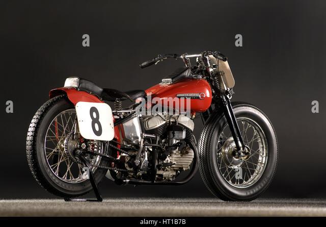Harley Davidson WR DAYTONA 1948. Artist: Simon Clay. - Stock Image