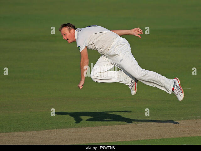 Australian cricketer Doug Bollinger bowling for Kent CCC in the County Championship 2014 - Stock Image