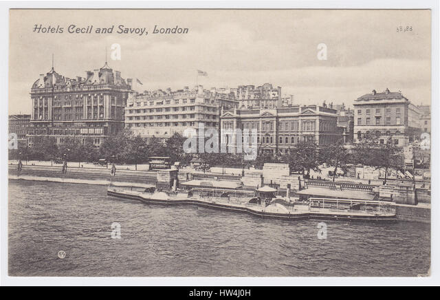 Hotels Cecil & Savoy, Victoria Embankment, London, United Kingdom - Stock Image
