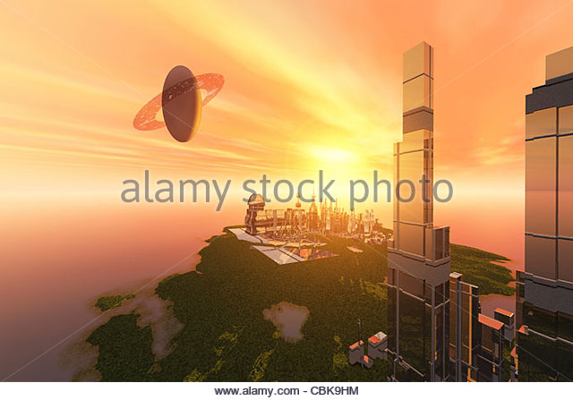 What civilization may look like in the future on one of Saturn's moons. - Stock Image