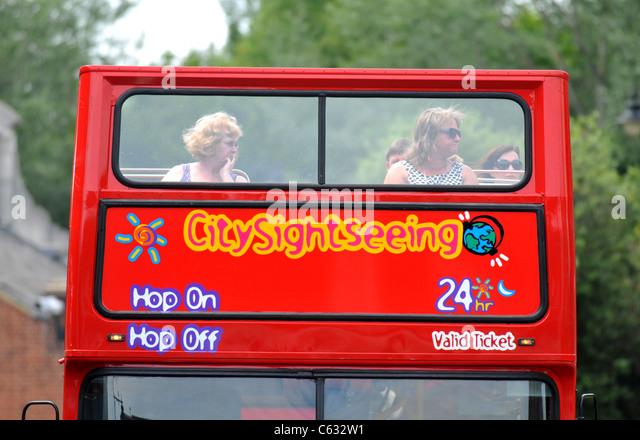 Tourist sightseeing bus, Eton, Berkshire, Britain, UK - Stock Image