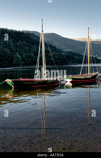 Boats on Ullswater Lake District Cumbria England UK - Stock Image