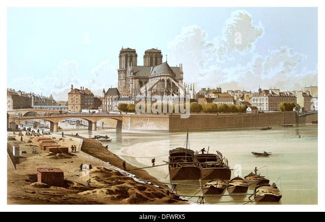 Isle de Paris featuring Notre Dame cathedral 1800's illustration - Stock-Bilder