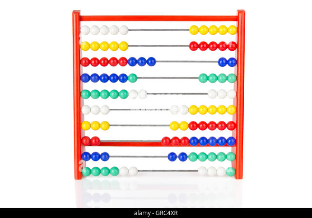 Red Abacus With Multicoloured Balls On White Background - Stock-Bilder