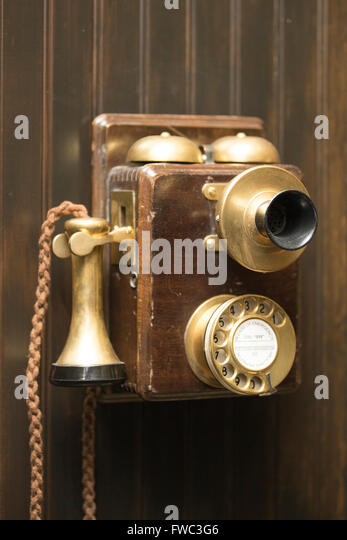 Old fashioned rotary telephone - Stock Image
