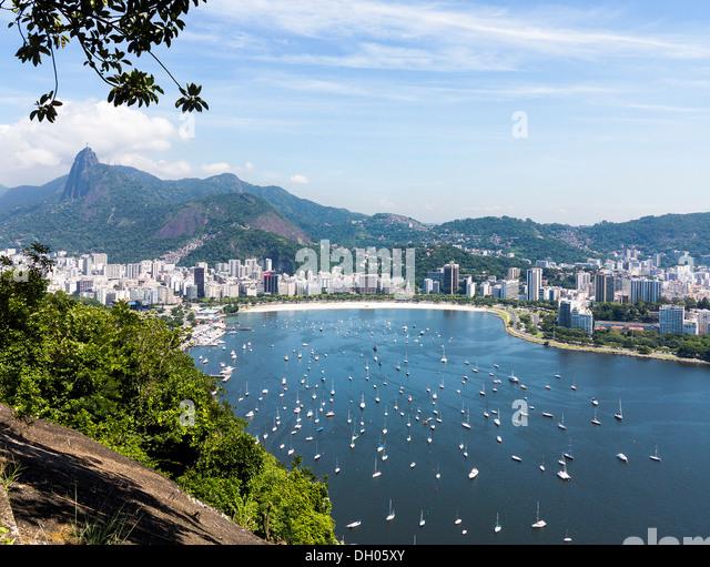 Rio de Janeiro, Brazil, South America - aerial of city and harbour in Guanabara Bay / Ba'a da Guanabara - Stock Image
