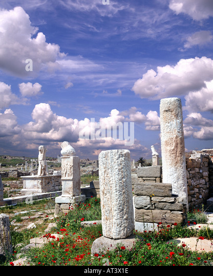 GR - CYCLADES:  Sanctuary of Dionysos on Sacred Island of Delos - Stock Image