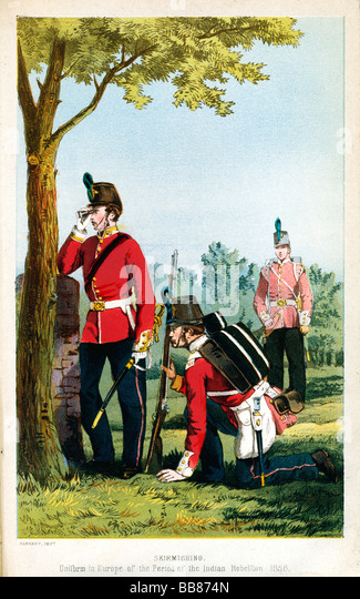 52nd Oxfordshire Light Infantry 1858 print, the British regiment Skirmishing in European uniform at the time of - Stock Image