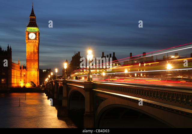 London, Westminster Bridge, Big Ben and the Houses of Parliament. UK - Stock Image