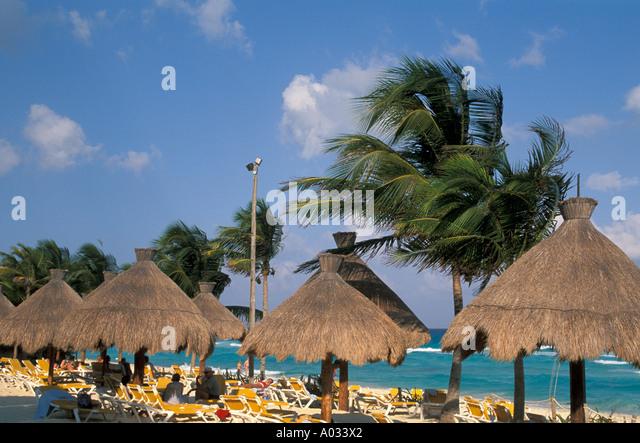 Mexico Playa del Carmen resort hotel beach - Stock Image