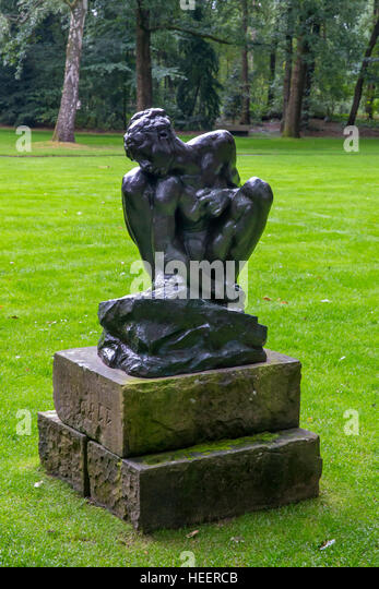 Femme Accroupie, Squatting woman, by Auguste Rodin, 1882, Kroller-Muller Museum, Hoge Veluwe National Park, Otterlo, - Stock Image