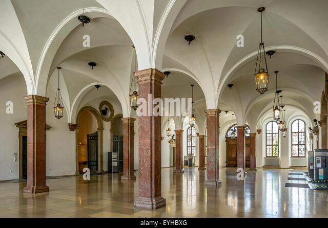 Entrance hall of Augsburg town hall, Augsburg, Swabia, Bavaria, Germany - Stock Image