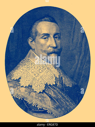 Gustavus Adolphus of Sweden/ King Gustav II Adolf  (1594 – 1632). The king led the Swedish army during the Thirty - Stock Image